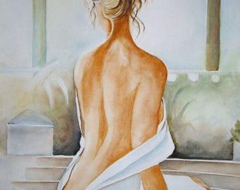 Watercolor painting original painting, 30 X 40 cm, Miss johanna