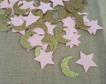100 piece Twinkle Twinkle Little Star Confetti, Star Confetti, Moon Confetti, Baby Showers Confetti, Birthday Confetti