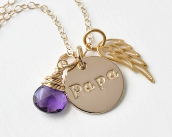 Loss of Papa Sympathy Gift / Necklace for Loss of Grandfather / In Memory of Grandpa Sympathy Gift / Gold Fill OR Sterling Silver