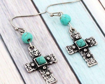 Turquoise Bead and Burnished Silvertone Cross Earrings
