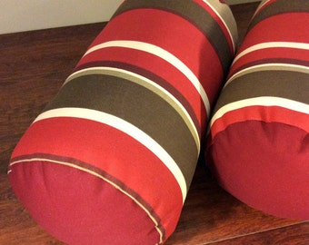 Indoor Outdoor Bolster Pillows | Red and Brown | Outdoor Patio Pillows | Large Bolster Pillows | Stripes - Ready to Ship