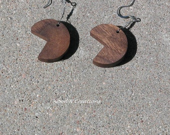 Earrings Dangle of Walnut Wood  with a Bite Missing