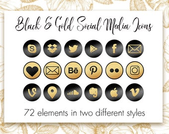 Black and Gold social media icons, Gold metallic foil icons, Social media buttons, Website icons, Blog buttons, Gold foil clipart