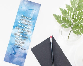 """Bookmark both sides quote Emily Dickinson - """"Hope is the thing with feathers  That perches in the soul  And sings the tune without..."""""""