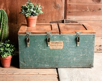 RESERVED FOR KATIE, Vintage Cooker Chest, Rustic Toy Box, Thermatic Fireless Cooker,  Storage Chest and Trunk, Storage Trunk Coffee Table