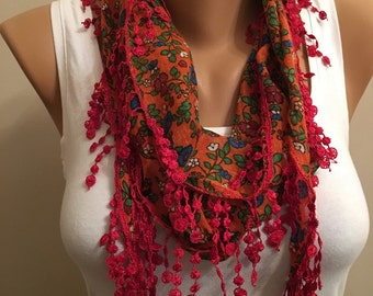 Red Floral Scarf, Lace Scarf, Women's Fashion, Gift, Bridesmaid Gift, Modern, Headband, Birthday Gifts ,  Fuchsia Floral Scarf, Gift for
