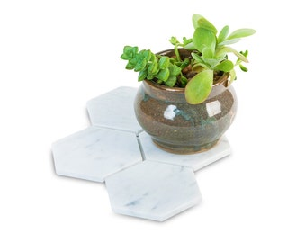 4 Marble Hexagon Coasters, Geometric Design, Made from White Carrara Marble Imported from Italy