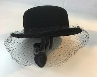 Black Veiled Vintage Women's Funeral Hat Wool