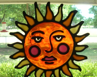 2 Suns stained glass window cling