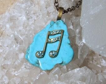 MUSIC NOTES Necklace, Swarovski Crystals, Turquoise Stone, Music Necklace, Music Student Gift, Music Teacher Gift, Music Graduate Gift