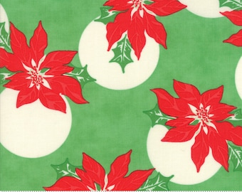 Swell Christmas by Urban Chiks for Moda, #31121-14, Poinsettia Green, Vintage Santa, Christmas Fabric, Christmas in July, IN STOCK