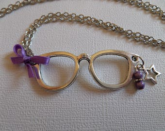 Purple and antique silver glasses necklace