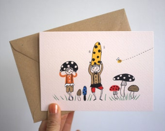 Scandinavian Gnomes with Toadstool Hats / Greeting Card