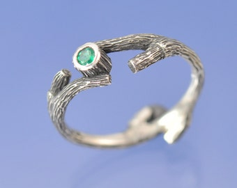 Twig Ring. Emerald Engagement Ring. Sterling Silver