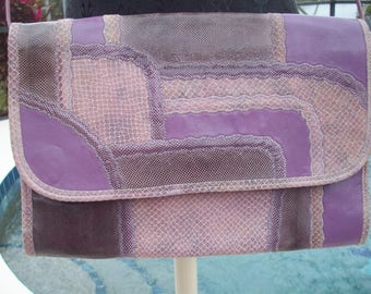 Purples and pinks Patchwork Leather, Snake Skin Purse/Clutch by Carlos Falchi
