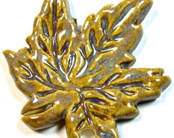 Ceramic Pendant, Maple Leaf, Leaf Pendant, Leaf Charm, Clay Pendant, Clay Leaf, Pottery Leaf, Pottery Pendant, Maple Leaf Pendant