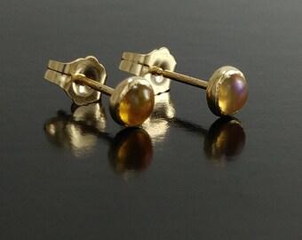 Fire opal earrings, opal gold Studs, Gold Stud Earrings, fire opal, Tiny gold stud earrings, 14k gold earrings, birthday jewelry gift