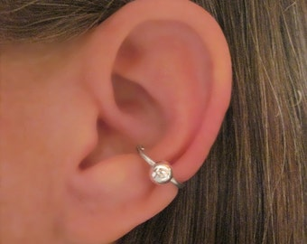 "No Piercing ""Captive Big Ball Conch "" Ear Cuff Handmade 1 Cuff Silver Tone"