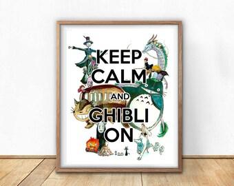 Keep Calm and Ghibli On Anime Art Print- Wall Art- Gouache Watercolor Painting