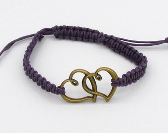 Entwined Hearts Friendship Bracelet - hand made