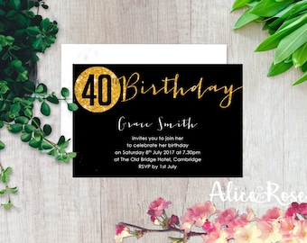 Sparkly Printable Birthday Party Invitation