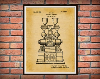 Patent 1925 Coffee Mill - Coffee Grinder - Wall Art Print - Kitchen Art- Poster - Restaurant Wall Art - Coffee Shop Wall Art