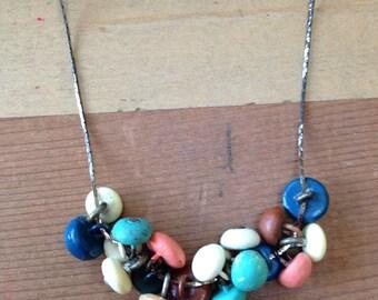 Vintage button necklace // aqua etc