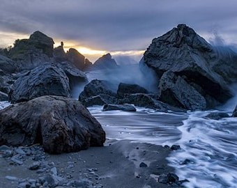 Stormy Beach, Landscape Photography, Metal Print, Large Prints, Del Norte County CA, Northern CA, DJerniganPhoto