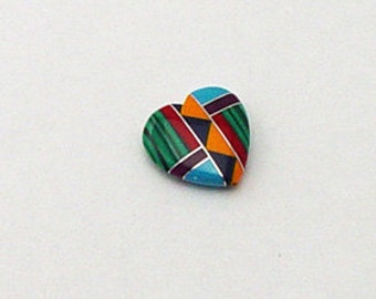 20mm Large Inlay Gemstone Heart Bead Native American Inlaid Stones Turquoise Zuni Style Coral Sugilite Malachite Spiny Oyster Southwestern