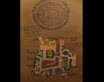 Vintage Mughal Painting on Old Jaipur Government Stamp Paper, Rajasthan India