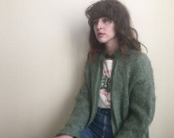 Vintage soft green mohair sweater / cardigan / top knot closure / large