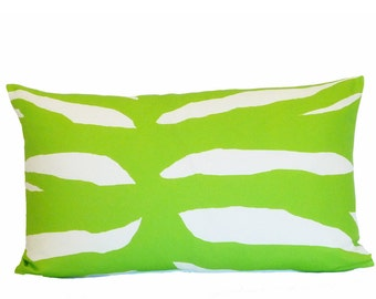 clearance discontinued 50 % off  huge sale green zebra pillow cover home decor linen throw 16x26 graphic flea market trixie