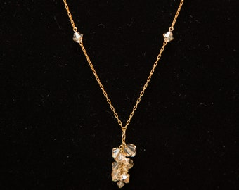 Golden shadow crystal cluster drop necklace