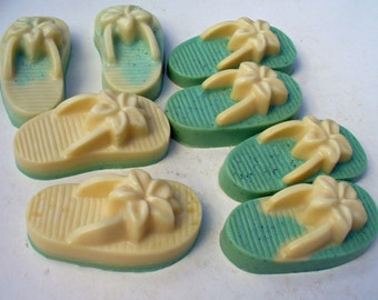 Green - White - Flip flop soap - glycerin soap - handcrafted soap - beach - sandals - flip flops - passionfruit - rose - wedding favor soap