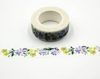 10 meters of beautiful masking tape with flowers - Washi tape flower