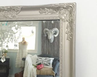 Metallic Silver Mirror, Salon Mirror, Vanity Mirror, Ornate Mirror. Boutique Mirror
