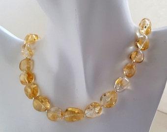 Citrine Nugget necklace sterling silver handmade gemstone earth jewellery ChaByDesign UK Designer