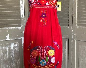 Wedding Brides Maid Fiesta Off Shoulder Puebla  Mexican embroidery dress ladies womens medium large xlarge plus