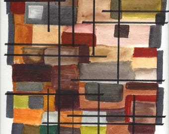 """Original Hand Painted Modern Abstract Watercolor Painting in Shades of Brown, Rust, Tan and Green - 9"""" x 12"""""""