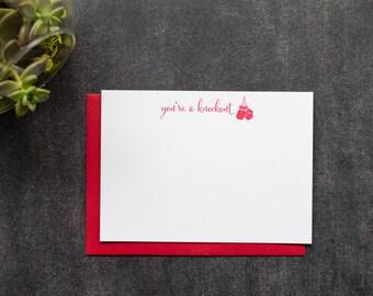 Red Letterpress Boxing Set - You're a Knockout- Boxing Glove Letterpress Note Card Set