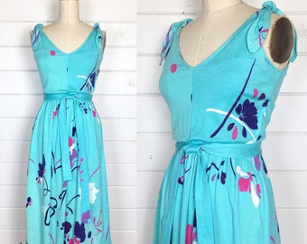 Vintage 1970s Turquoise Brushstroke Sundress / Tie Shoulder / Made by Robert Janan / Full Skirt / Cotton