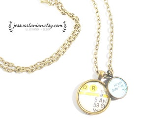 NYC Subway Location Map Two Charms Necklace. Manhattan.