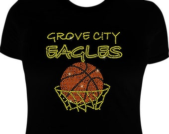 school spirit wear-rhinestone basketball-school spirit-Basketball iron on transfer
