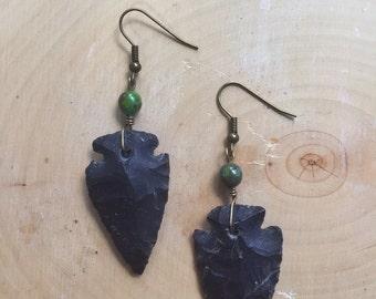 Black arrowhead earrings