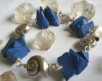 Natural Large Lapis Lazuli gemstone and fine silver Nautilus shell bracelet