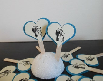 Wedding Cupcake Toppers- Bridal Shower Cupcake Toppers - Wedding Shower Toppers- Bride and Groom Cupcake Toppers