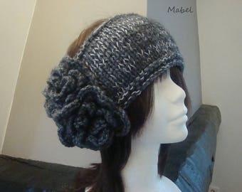Gray and charcoal grey headband Pearl, knitting, crochet, soft and warm