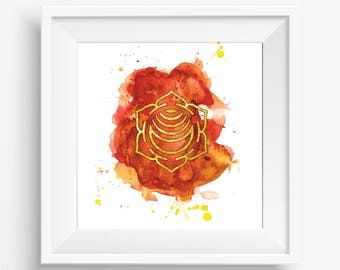 Sacral Chakra Watercolour Painting - 8x8 inch