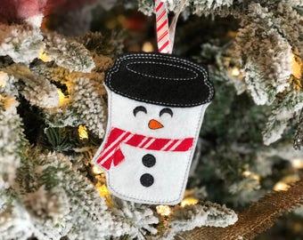Snowman Ornament - Gift Card Holder - Snowman Coffee Cup - Coffee Cup Ornament -Christmas Ornament - Coffee Drinker Gift - Christmas Gift