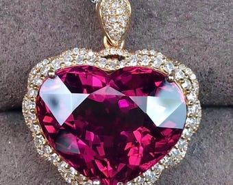 Rubellite Pendant Eye Clean Mozambique Rubellite Tourmaline Faceted Heart 15.5 x 13 MM Size Diamonds 18K Rose Gold Pendant Jewelry